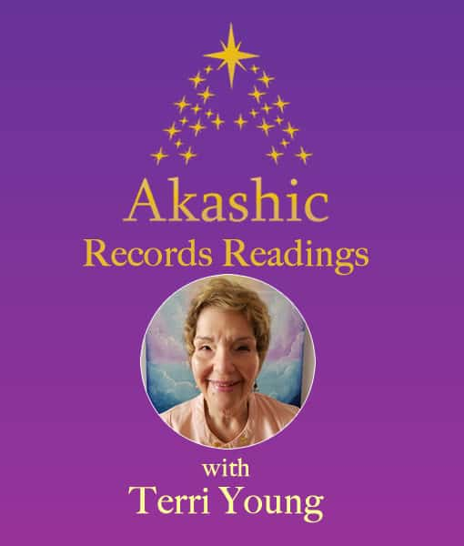 Purple background with round image of Terri Young and gold stars