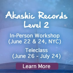 Blue background with book Akashic Records upcoming classes