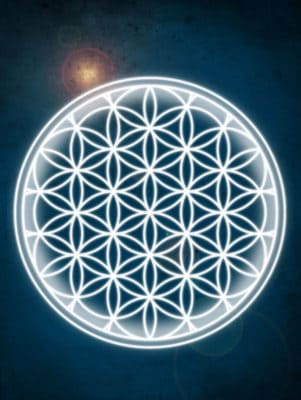 Dark blue background with white flower of life symbol