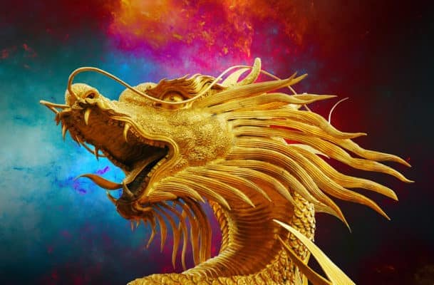 golden dragon with blue red and black background