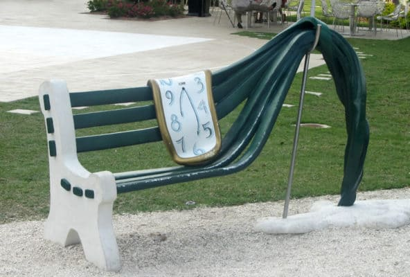 Salvador Dali Bench with clock stretched out