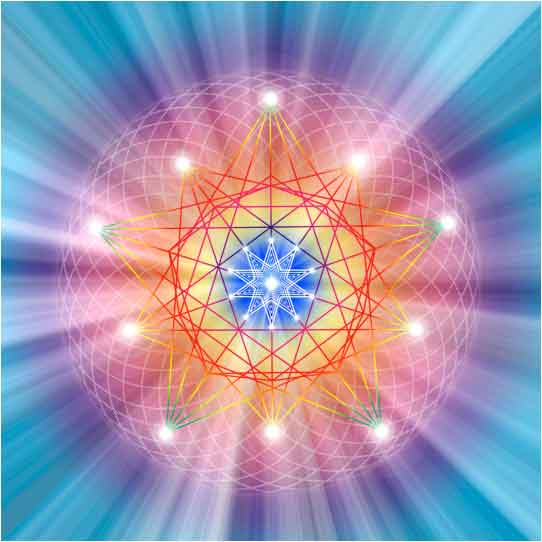 blue purple yellow glow with sacred geometry