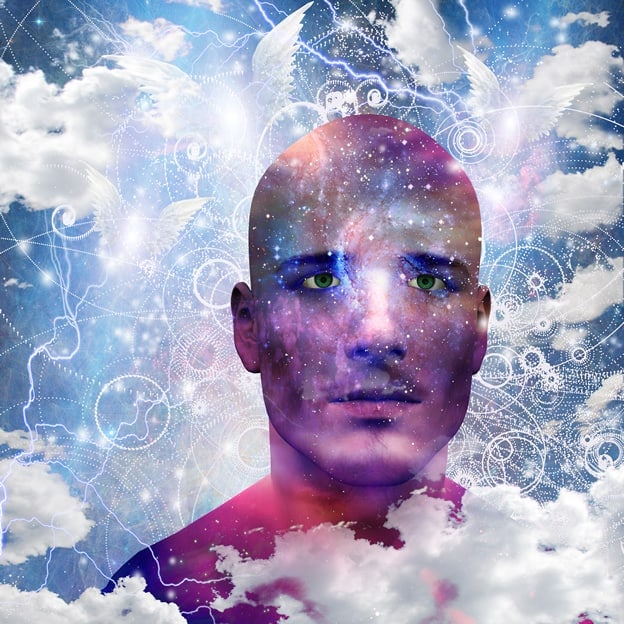 man in clouds with thoughts around him