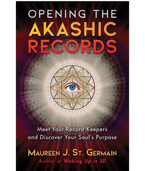 Opening the Akashic Records text on book cover featuring glowing eye and sacred geometry