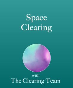 Space Clearing text with teal background and purple circle