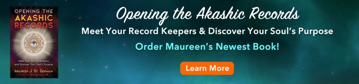 teal banner with akashic records book cover