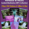 purple background with eight guided meditation audio covers