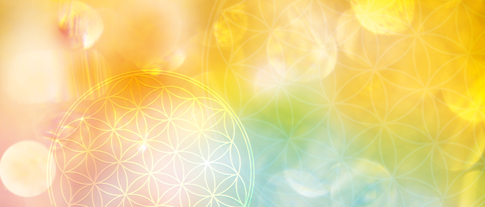 A new dimension of creation: banner flower of life in bright yellow light